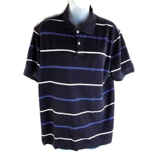 Izod Mens Large Striped Polo Shirt Blue and White